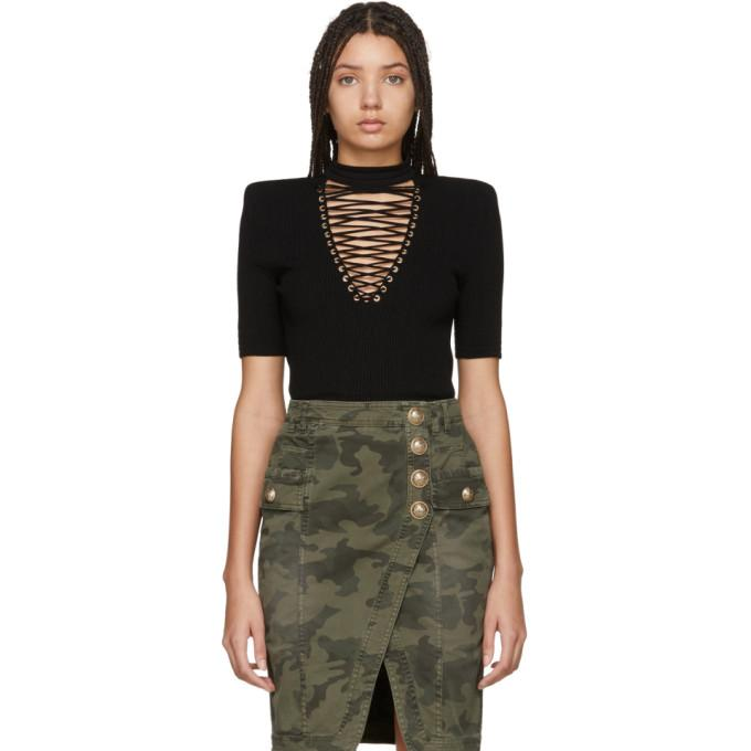 Balmain Black Lace-Up Sweater