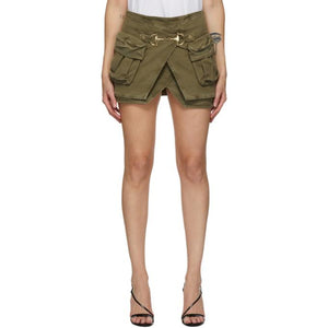 Balmain Khaki Denim Layered Miniskirt