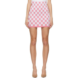 Balmain Pink and White Viscose Gingham Miniskirt