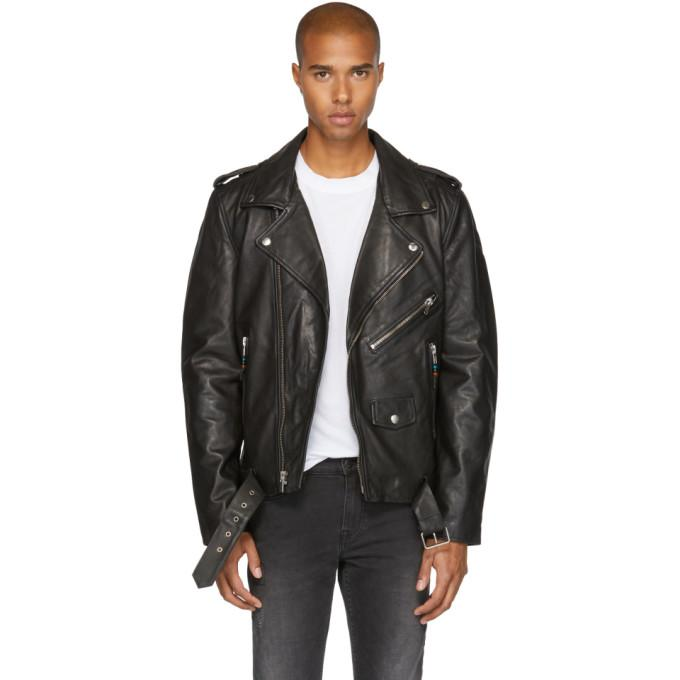 BLK DNM Black Leather Classic '5' Biker Jacket-BlackSkinny