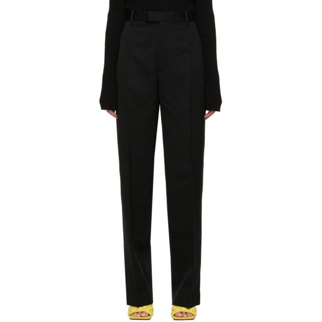 Bottega Veneta Black Wool Straight Trousers
