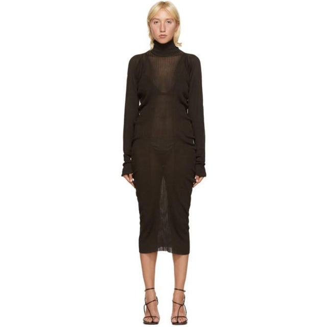 Bottega Veneta Brown Rib Seamless Dress