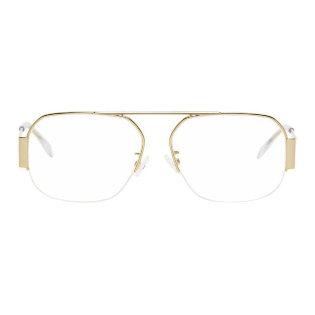 Bottega Veneta Gold Rectangular Glasses