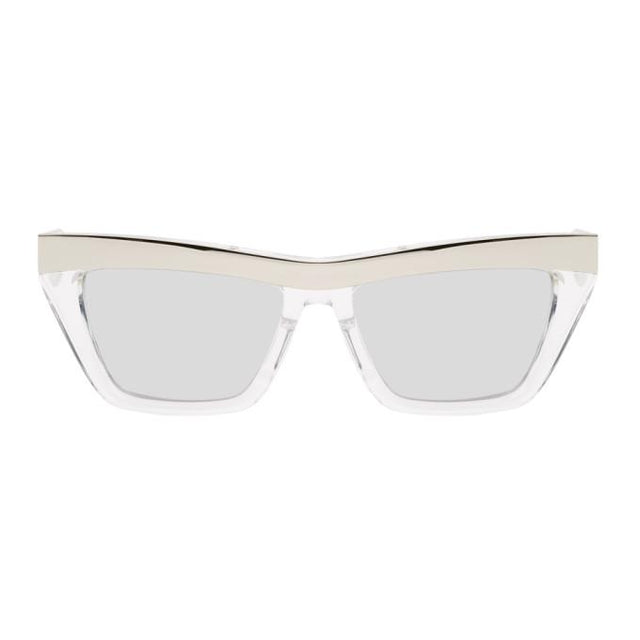 Bottega Veneta Silver Rectangular Sunglasses