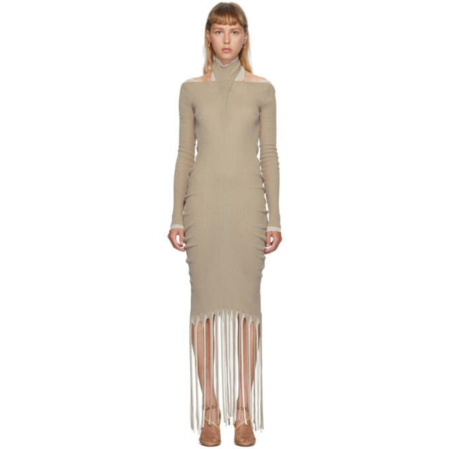 Bottega Veneta Tan and Off-White Ribbed Fringed Dress