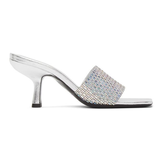 BY FAR Silver Dylan Heeled Sandals