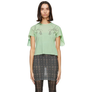 Charlotte Knowles Green Godet Sleeves T-Shirt