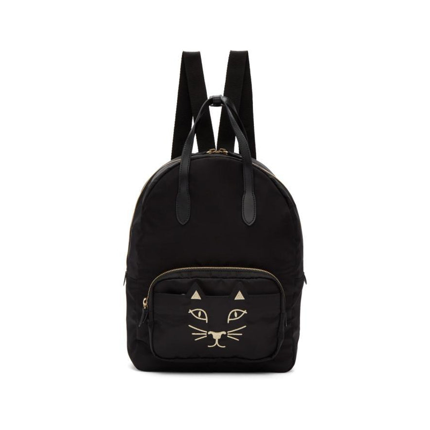 Charlotte Olympia Black Nylon Feline Backpack-Bags-BLACKSKINNY.COM