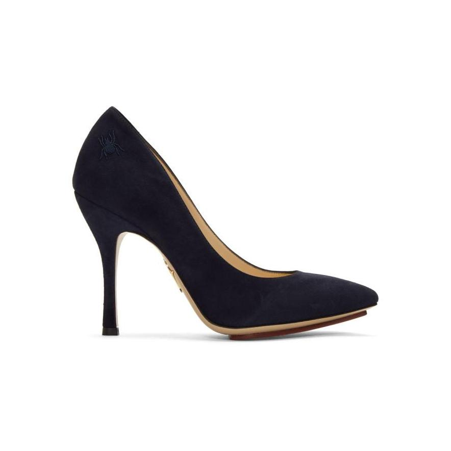 Charlotte Olympia Navy Suede Bacall Heels-BLACKSKINNY.COM