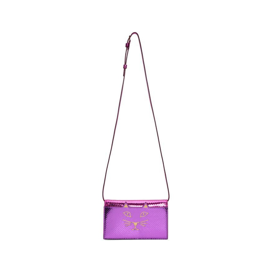 Charlotte Olympia Purple Snake Feline Shoulder Bag-Bags-BLACKSKINNY.COM