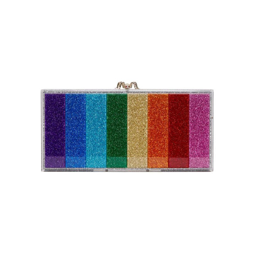 Charlotte Olympia Silver Rainbow Glitter Perspex Penelope Clutch-Bags-BLACKSKINNY.COM