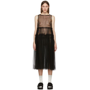 Chika Kisada Black Sleeveless Tulle Dress-BLACKSKINNY.COM