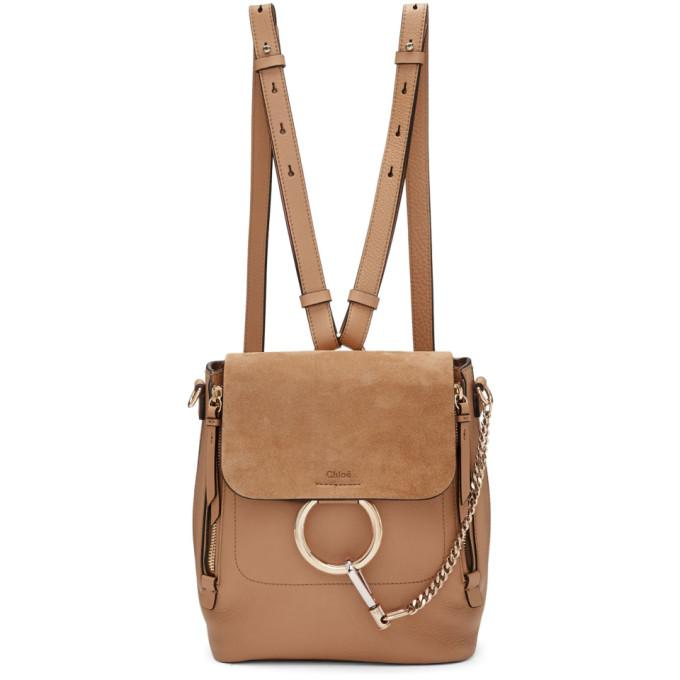 Chloé Beige Small Faye Backpack-Bags-BLACKSKINNY.COM