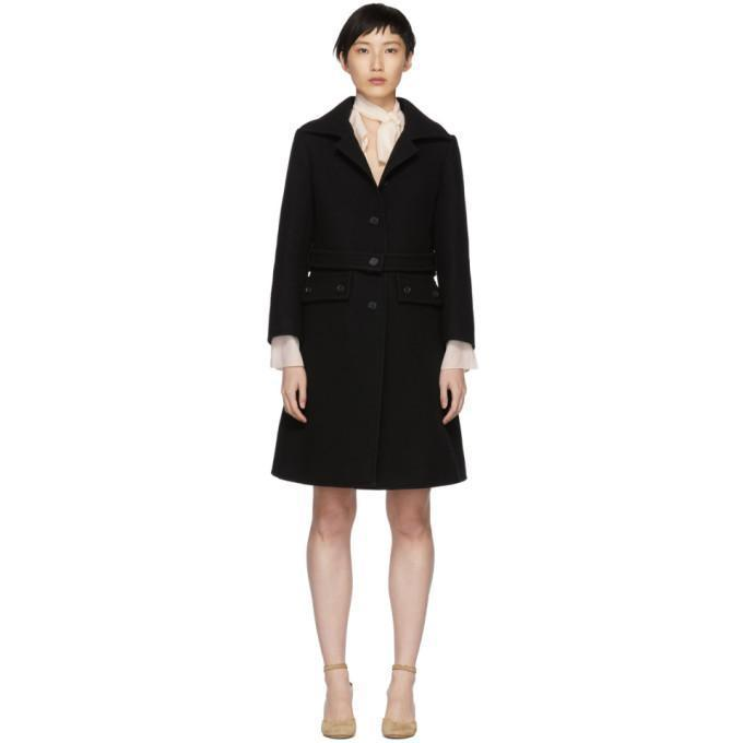 Chloé Black Button Coat-Jackets & Coats-BLACKSKINNY.COM