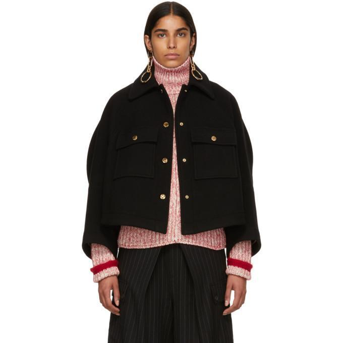 Chloé Black Loose Fitted Jacket-Jackets & Coats-BLACKSKINNY.COM