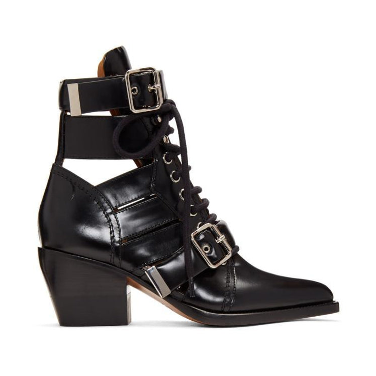 Chloé Black Medium Rylee Boots-BLACKSKINNY.COM