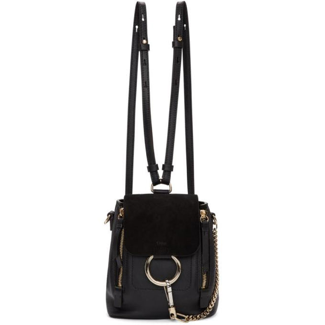 Chloé Black Mini Faye Backpack-Bags-BLACKSKINNY.COM