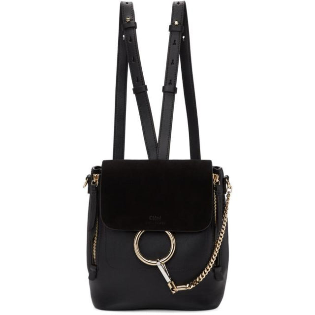 Chloé Black Small Faye Backpack-Bags-BLACKSKINNY.COM