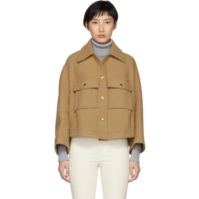 Chloé Brown Loose Fitted Shirt Jacket-Jackets & Coats-BLACKSKINNY.COM