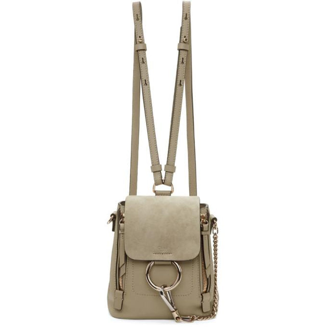 Chloé Grey Mini Faye Backpack-Bags-BLACKSKINNY.COM