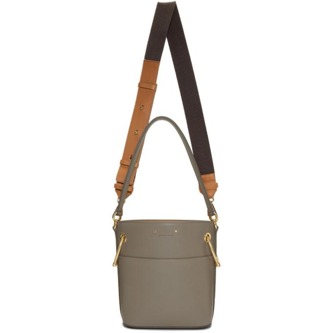 Chloé Grey Mini Roy Bucket Bag-Bags-BLACKSKINNY.COM