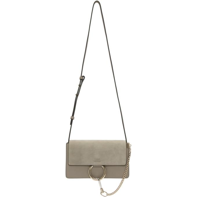 Chloé Grey Small Faye Bag-Bags-BLACKSKINNY.COM