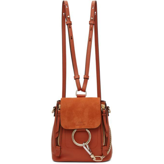 Chloé Red Mini Faye Backpack-Bags-BLACKSKINNY.COM