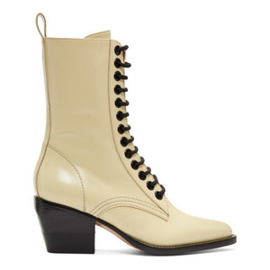 Chloé Yellow Lace-Up Boots-BLACKSKINNY.COM