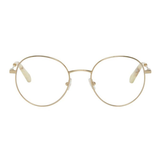 Chloe Gold Metal Round Glasses
