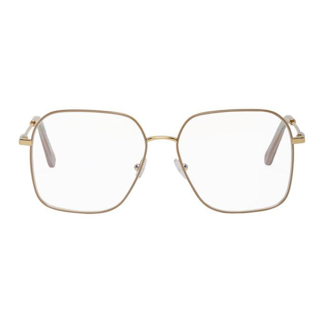 Chloe Gold Metal Square Sunglasses