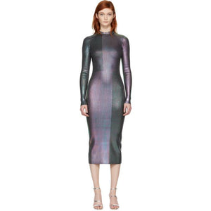 Christopher Kane Multicolor Long Foil Dress-BLACKSKINNY.COM