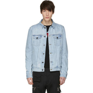 Diesel Black Gold Blue Distressed Denim Jacket-BlackSkinny