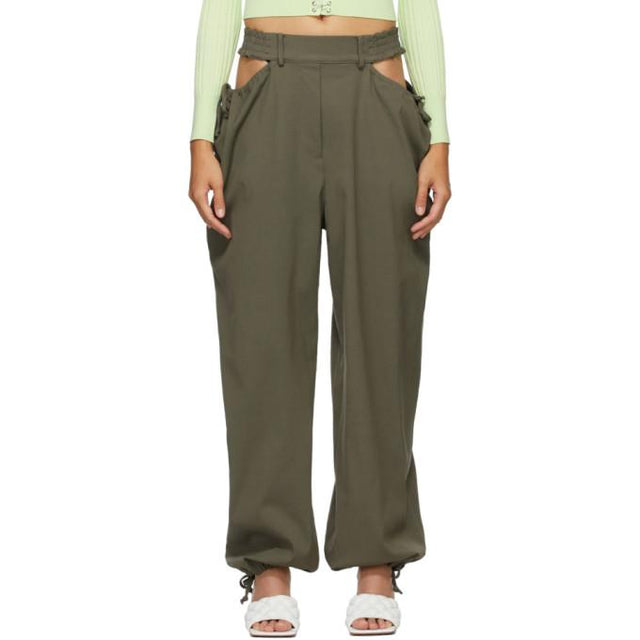 Dion Lee Khaki Gathered Tie Trousers