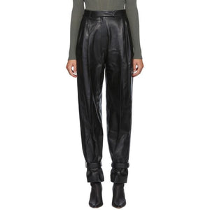 DRAE Black Leather Wide Trousers