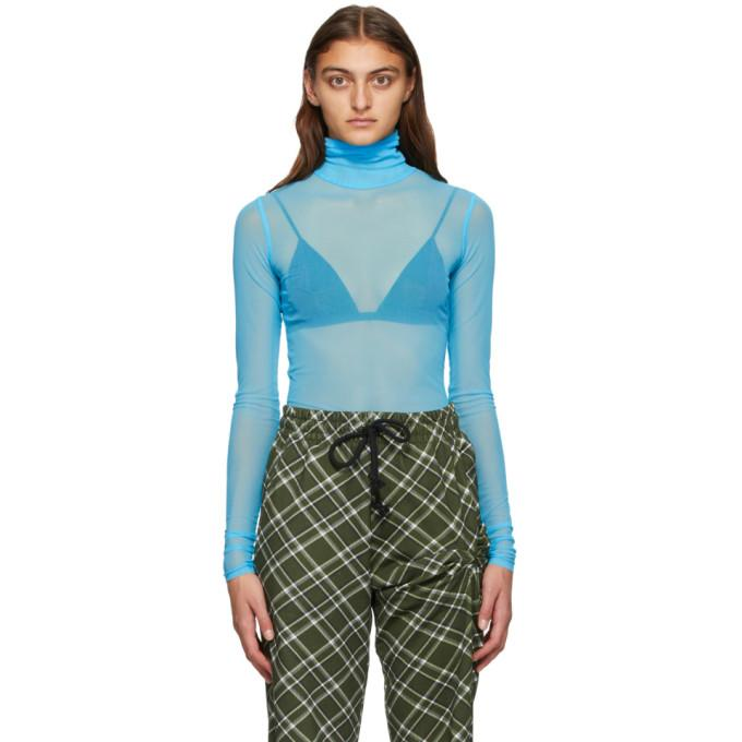 Dries Van Noten Blue Sheer Mesh Turtleneck