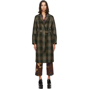 Dries Van Noten Khaki Check Belted Coat