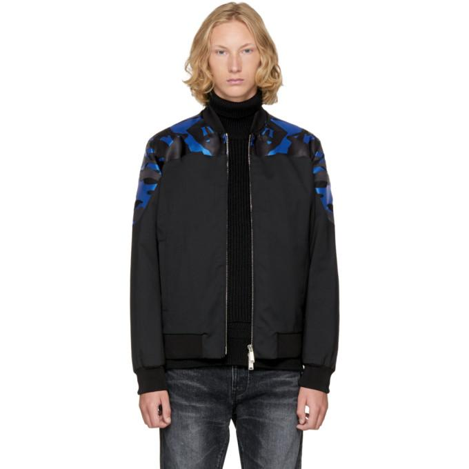 Dsquared2 Black Wool Camouflage Bomber Jacket-BlackSkinny