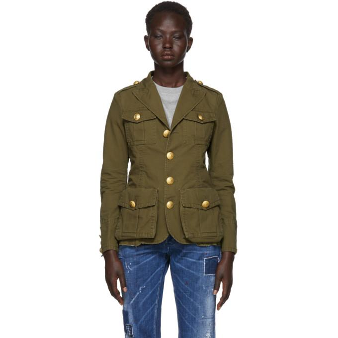 Dsquared2 Green Ripstop Military Jacket-BlackSkinny