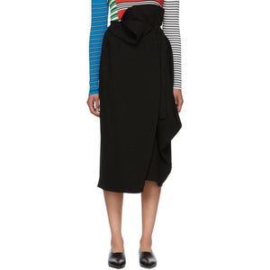 Enfold Black Asymmetrical 3D Dry Cloth Skirt-BLACKSKINNY.COM