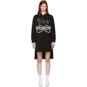 Fendi Black Pearls Bow Hoodie Dress-BLACKSKINNY.COM