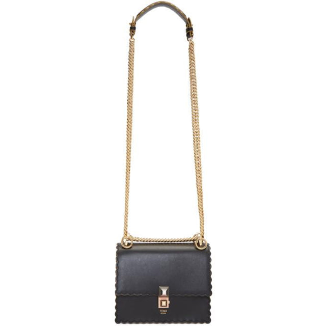 Fendi Black Small Scalloped Kan I Bag
