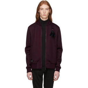 Fendi Burgundy Neoprene 'Super Bugs' Patch Bomber Jacket-BlackSkinny