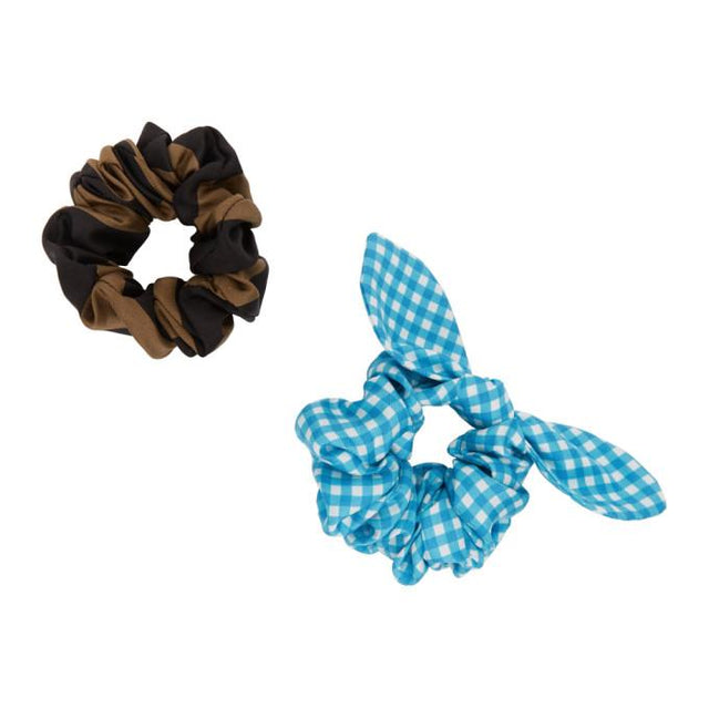 Fendi Two-Pack Multicolor Silk Check and Stripe Scrunchies.