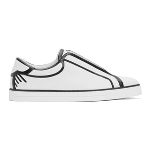 Fendi White and Black Joshua Vides Edition Leather Sneakers