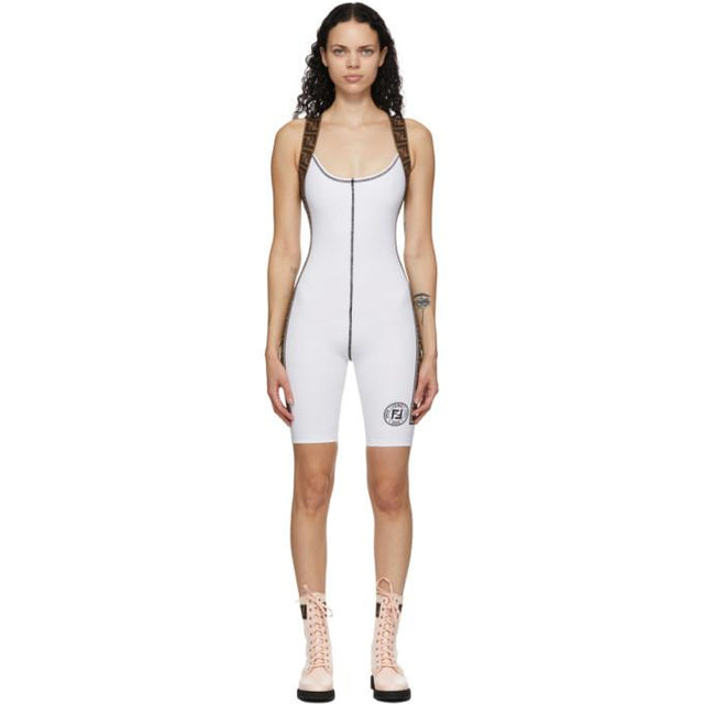 Fendi White Stretch Forever Fendi Fitness Bodysuit