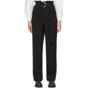 GANNI Black Heavy Crepe Belt Trousers