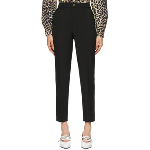 GANNI Black Heavy Crepe Straight Trousers