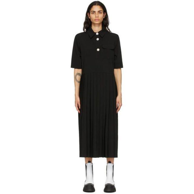 GANNI Black Melange Suiting Dress