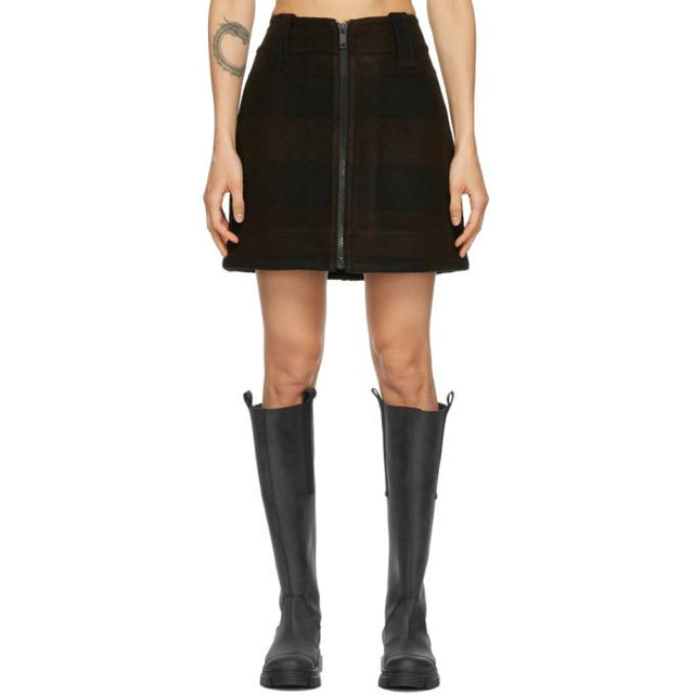 GANNI Black Wool Zip Miniskirt