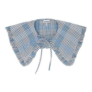 GANNI Blue and White Seersucker Check Collar